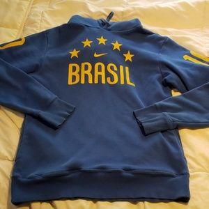 Brasil Nike Blue Sweatshirt Hoodie Soccer Futbol